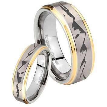 His Hers Step Edge Mountain 14K Gold 2 Tone Tungsten Wedding Rings Set