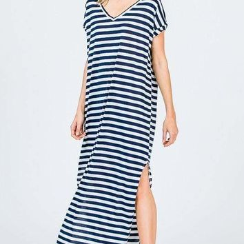 Abigail T-Shirt Maxi Dress | Navy Stripe