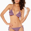 Ruffled Purple Padded Halter Neck Swimwear