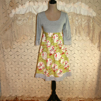 Boho Dress XS Small Fit and Flare Midi High Waisted Hippie Dress Gray Green Red Floral Colorblock Anthropologie Teen Juniors Womens Clothing