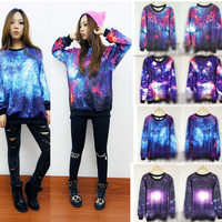 Chic Women's Galaxy Space Starry Print long Sleeve Top Round T Shirt Jumper Top2