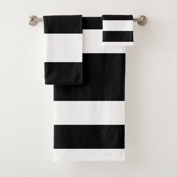 Black White Stripes Bath Towel Set