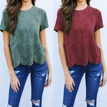 2018 Women Summer T shirt Solid Suede Burn Out Hem Hollow Out Sexy Tops Femma Shirts Ladies Clothes Short Sleeve Casual Blusas