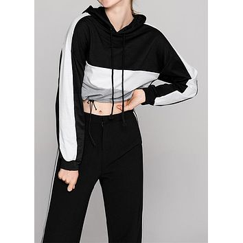 Color Block Lace Up Hoodie