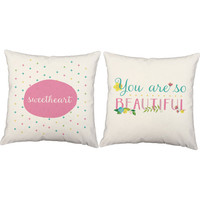Set of 2 Beautiful Sweetheart - You Are So Beautiful Pillow Covers and Or Cushion Inserts - nursery decor, baby girl pillows, gift for girls