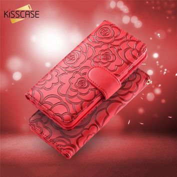 KISSCASE Luxury 3D Flower Pattern Leather Case For iPhone 7 6 6s Plus 5 5s SE Stand Holder Flip Wallet Cover For iPhone 7 6 Case