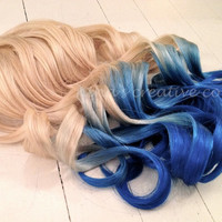 "Mermaid Hair/Ombre Hair Extensions/DipDye/Reverse Ombre/Blonde and Ocean Blue Dip Dye/(7) Pieces//20""/Double Wefted"