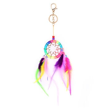 Colorful Dream Net With feathers Wall Hanging Dreamcatcher Keychain  SN9