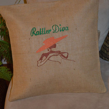 Modern Rattler DIva FAMU Burlap Cushion Cover - Florida A&M Univeristy - Dorm Room Decor - FAMU Alum - Graduation Gift