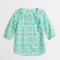 Factory girls' abstract ikat poet blouse