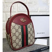 GUCCI Women Fashion Leather Daypack Backpack Bookbag Shoulder Bag