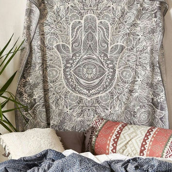 Hamsa Hand Tapestry Throw Indian Hippie Tapestry Wall Hanging, Urban Sketched Hand Tapestry, Urban Outfitters Tapestry Wall Decor Dorm Deco Bedding