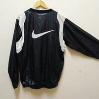 Nike swoosh windbreaker v-neck sport wear vintage hip hop big logo