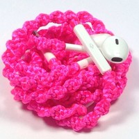MyBuds Wrapped Tangle-Free Earbuds for iPhone   Hot Pink Satin Glam   with Microphone and Volume Control