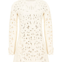 VALENTINO IVORY FLORAL PATTERN PERFORATED LEATHER DRESS