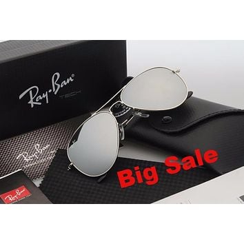 Ray Ban Aviator Sunglasses RB3025 Silver Frame Gray Flash Lens