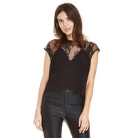 Black Halter Lace Embroidered Dovetail Top with Triangle Chest