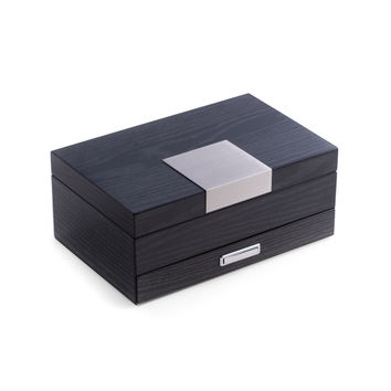 """Steel Gray"" Lacquered 2 Level Jewelry Box with Drawer"