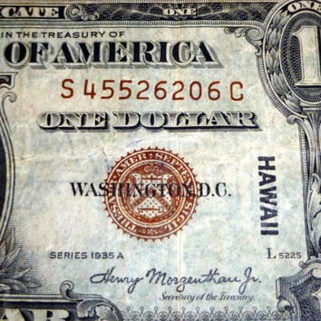 Hawaii Silver Certificate, Series 1935A, Rare Currency, Collector's Item, Silver Dollar, Limited Circulation, Good Condition