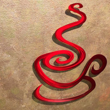 Superb Red Coffee Metal Wall Art   Coffee Metal Art   Coffee Sign   Red Kitchen Art