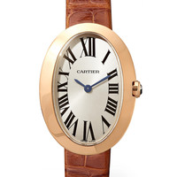 Cartier - Baignoire 24.5mm small 18-karat pink gold and alligator watch