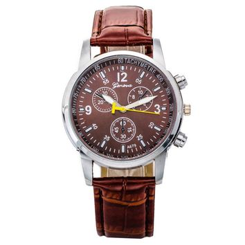 Faux Leather Quartz Analog Wrist Watch
