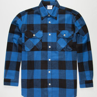 Rothco Heavyweight Mens Flannel Shirt Blue  In Sizes