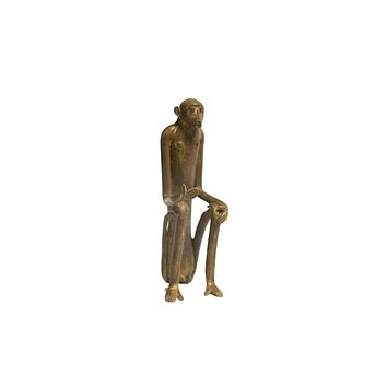 Large Seated Monkey with Hand Out Vintage African Bronze Sculpture