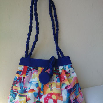 Bag multicolor arty, blue, cotton satin interfaced and lined, hand bag and shoulder bag, trendy, chic casual,fashion handmade in France