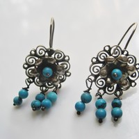 Vintage Mexican Silver and Turquoise Frida Kahlo Style Earrings