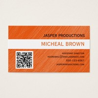 Orange QR Code Business Card
