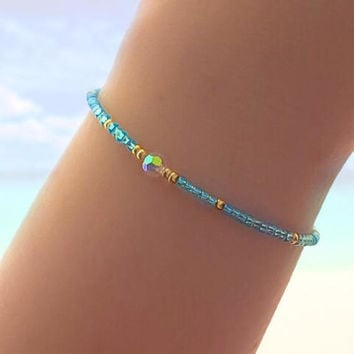 Turquoise Friendship Bracelet - Best Friend Bracelet - Best Friend Gift - Beaded Bracelet - Seed Bead Bracelet - Holographic Bracelet
