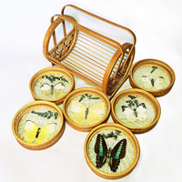 Vintage Butterfly Coasters and Caddy Pressed Butterfly Botanicals Rattan Coaster Set
