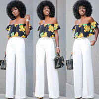 Off-Shoulder Floral Top White Wide Leg Pants Set