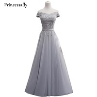 Grey Bridesmaid Dress Floor Length A line Sexy Boat Neck Appliques Cap Sleeved Long Prom Party Gowns Custom Robe De Mariee 2017