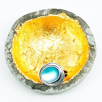 Moon Goddess Ripples: Sterling Silver Ring Handmade with Opalite Size 7