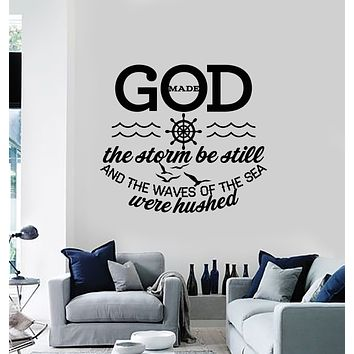 Vinyl Wall Decal Psalm Quote God Make The Storm Be Still Stickers Mural (g1840)