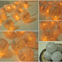 Silver cotton ball string lights for Patio,Wedding,Party and Decoration (20 bulbs)