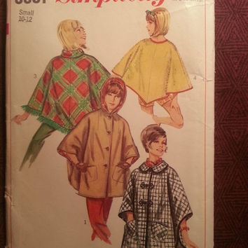 Uncut 1960's Simplicity Sewing Pattern, 6651! 10-12 Small/Women's/Misses/Hooded Ponchos/Capelet/Button Up Poncho/Winter/Spring/Fall/Outdoor