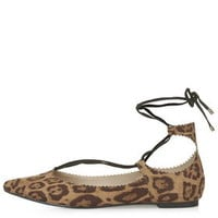 FINEST Ghillie Lace Up Flats - True Leopard