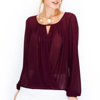 Draped Long Sleeve Keyhole Peasant Blouse - Wine