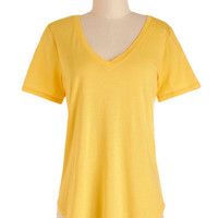 ModCloth Mid-length Short Sleeves Plain and Simply Sweet Top in Lemon