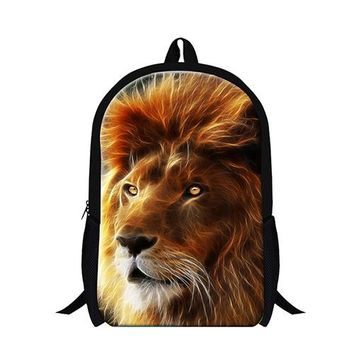 Cool Backpack school 2017 lion backpack for boys Cool Bookbags School Bags for Children Teen boys Back Pack Animal Backpacking Bags for Teenager girl AT_52_3