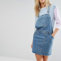 ASOS TALL Denim Overall Dress in Midwash Blue at asos.com
