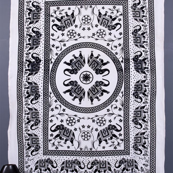 Indian Hippie Tapestries, Elephant Mandala Tapestries, Tapestry Wall Hanging, Bohemian tapestries, Boho Bed Spread, Dorm Decor, Ethnic art