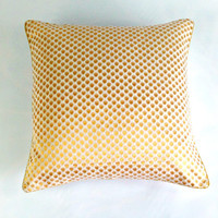 White and Gold Pillow, Metallic Gold Pillow Cover, Plush Throw Pillow, Anniversary Gift, Metallic Gold Cushion, Polka Dot Sparkle Pillow