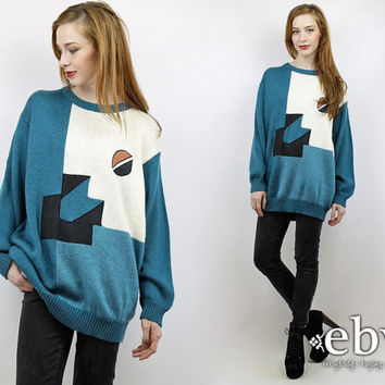 Oversized Jumper Oversized Knit 90s Sweater Cosby Sweater Plus Size Sweater Vintage 90s Teal Shapes Oversized Sweater XL 1X Sweater