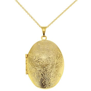 Gold Tone Textured Flower Oval Photo Locket Remembrance Pendant Necklaces 19""