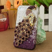 3D Bling Crystal iPhone Case for AT&T Verizon Sprint Apple iPhone 4/4S Purple Peacock