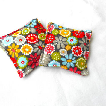 Spring Garden Flannel Hand Warmers - Gray Red Reusable Rice Hand Warmers